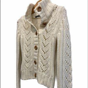 Razzle Dazzle Off White Cable Knit Fall Cardigan Sweater Size Small GUC
